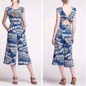 Anthropologie Corey Lynn Calter blue white linen jumpsuit open knot back medium